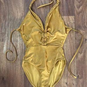 Topshop Gold BodySuit sz 4